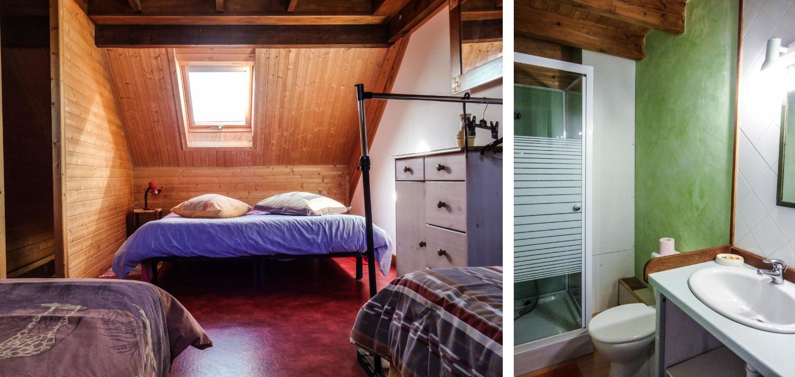 Chambre 4 lits et salle d'eau